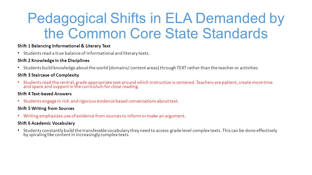 Pedagogical Shifts in ELA Demanded by the Common Core State Standards