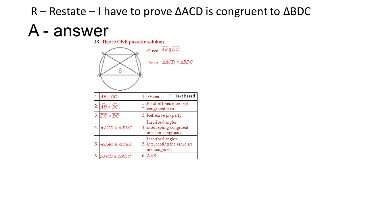 A - answer R – Restate – I have to prove ∆ACD is congruent to ∆BDC