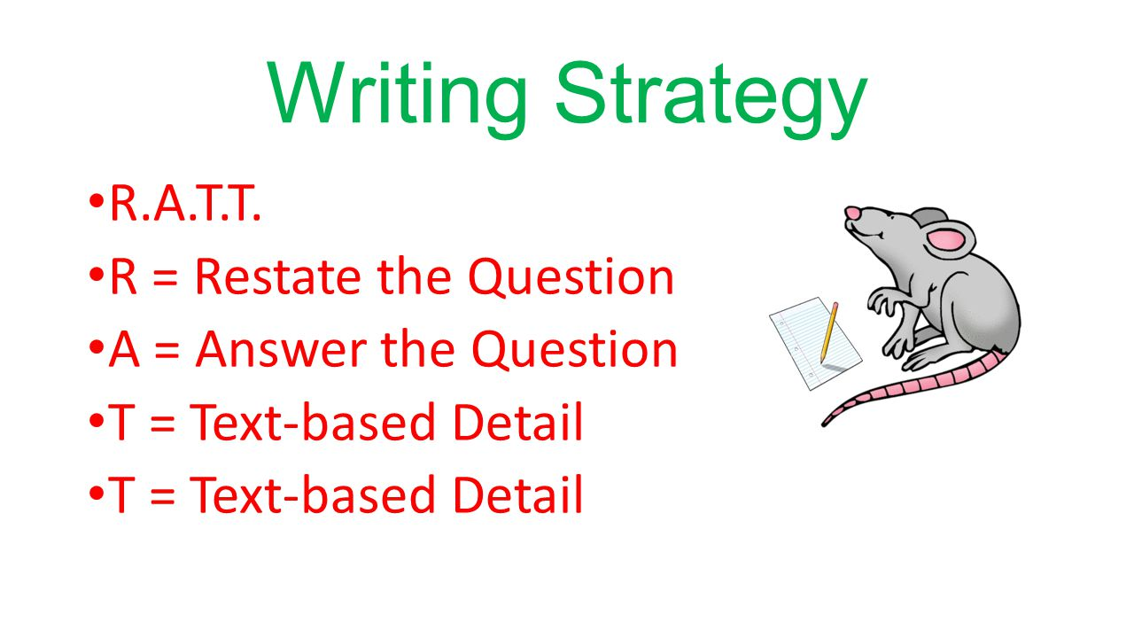 Writing Strategy R.A.T.T. R = Restate the Question