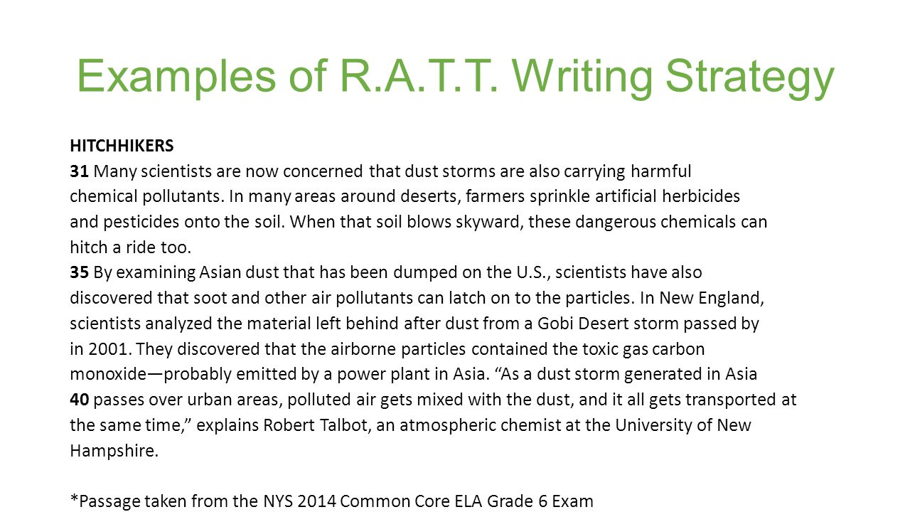 Examples of R.A.T.T. Writing Strategy