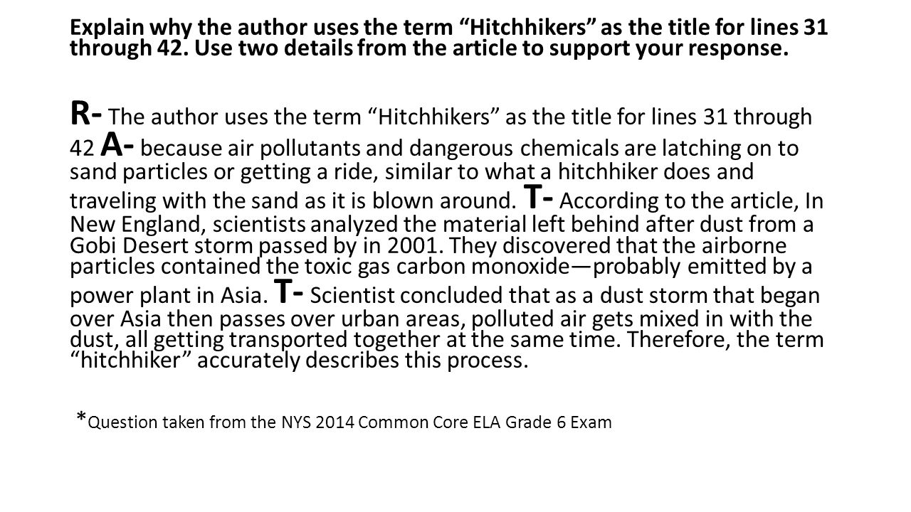 Explain why the author uses the term Hitchhikers as the title for lines 31 through 42. Use two details from the article to support your response.