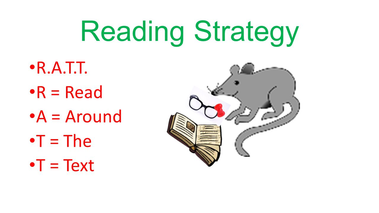 Reading Strategy R.A.T.T. R = Read A = Around T = The T = Text