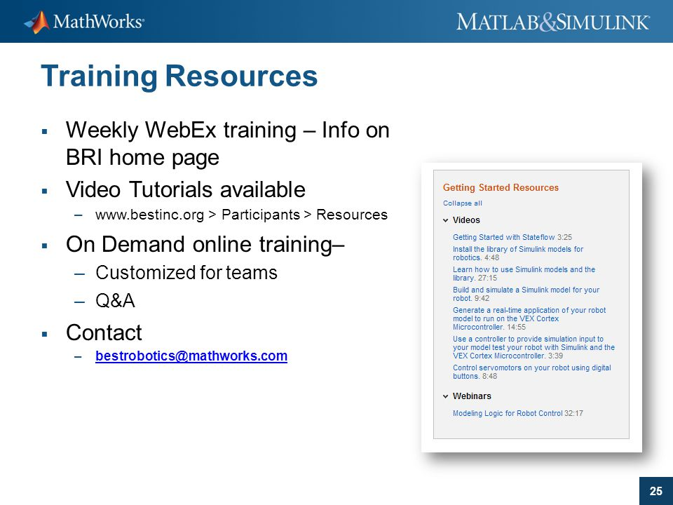 Training Resources Weekly WebEx training – Info on BRI home page