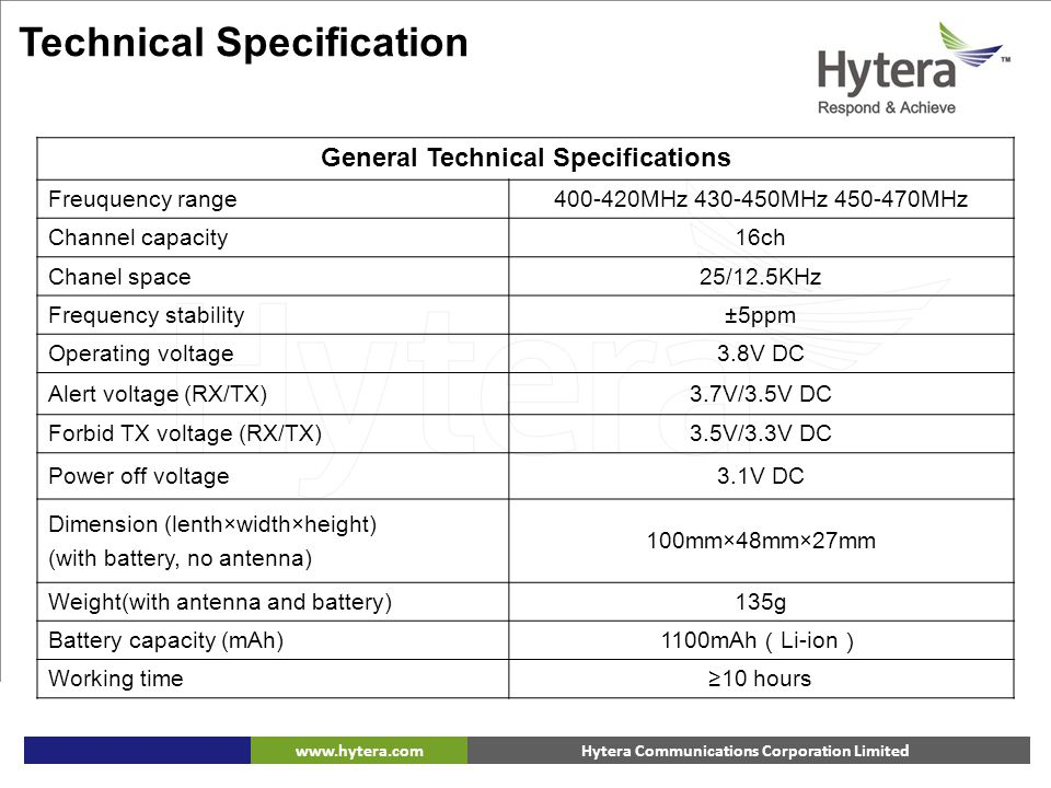 General Technical Specifications