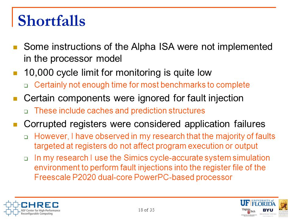 Shortfalls Some instructions of the Alpha ISA were not implemented in the processor model. 10,000 cycle limit for monitoring is quite low.