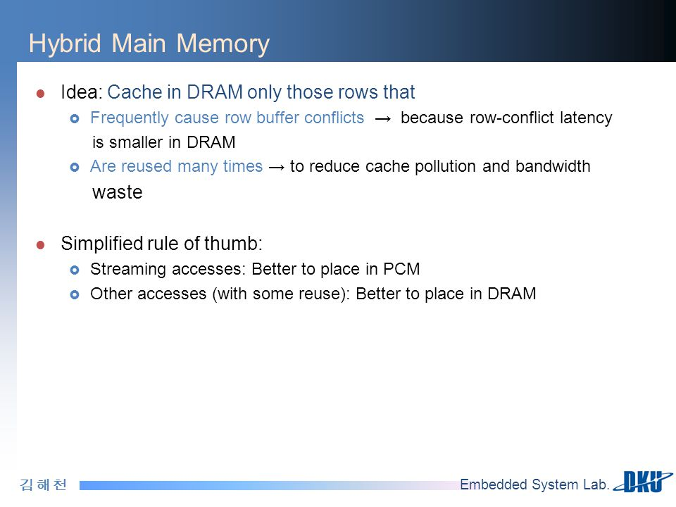 Hybrid Main Memory Idea: Cache in DRAM only those rows that waste