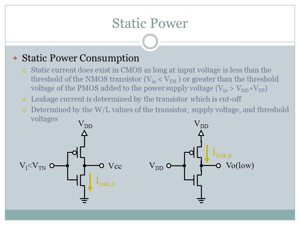 Static Power Static Power Consumption Ileak,p Ileak,n VDD VDD