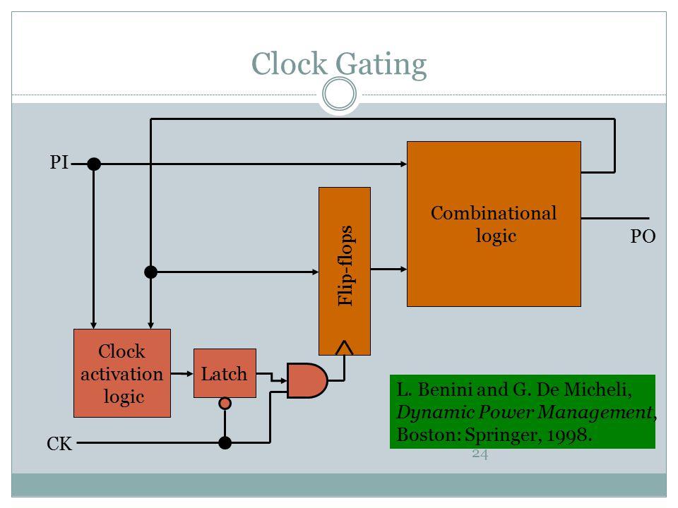Clock Gating PI Combinational logic PO Flip-flops Clock activation