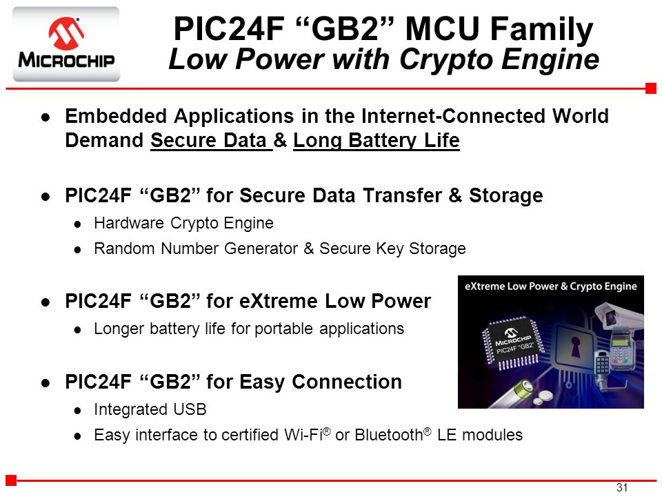 PIC24F GB2 MCU Family Low Power with Crypto Engine