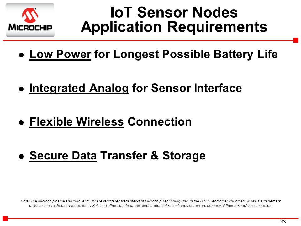 IoT Sensor Nodes Application Requirements