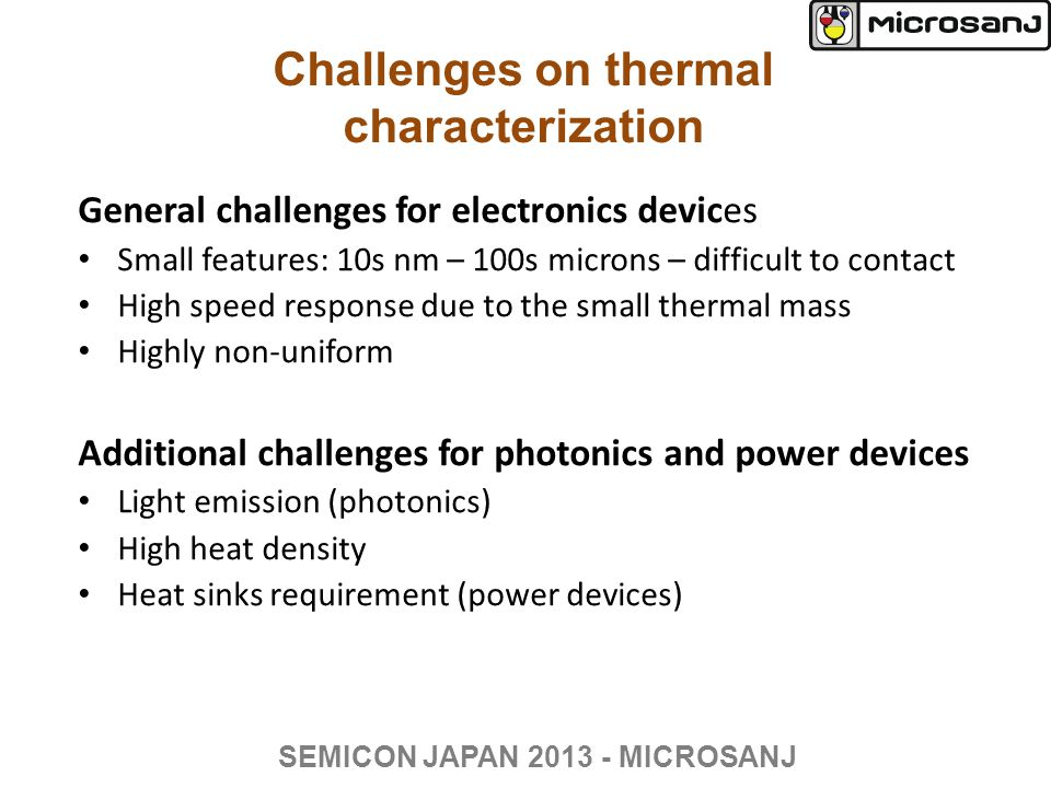 Challenges on thermal characterization