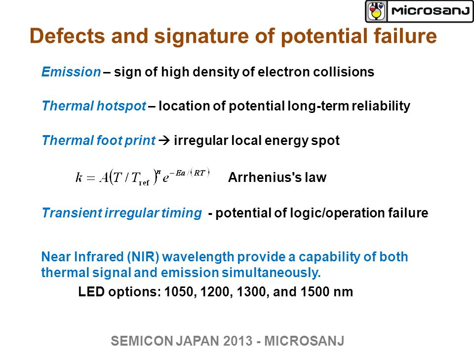 Defects and signature of potential failure