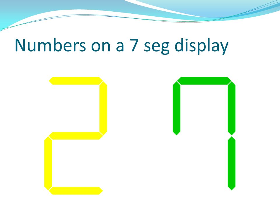 Numbers on a 7 seg display