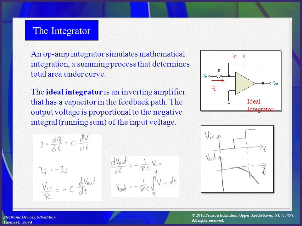 The Integrator An op-amp integrator simulates mathematical integration, a summing process that determines total area under curve.
