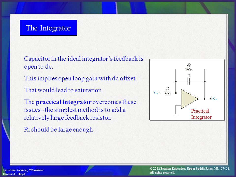 The Integrator Capacitor in the ideal integrator's feedback is open to dc. This implies open loop gain with dc offset.