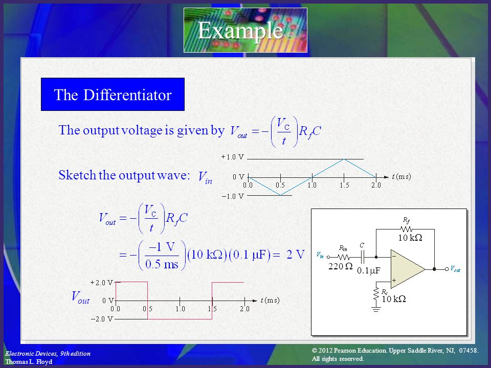 Example The Differentiator The output voltage is given by