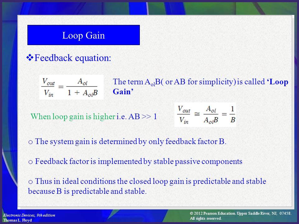 Loop Gain Feedback equation: