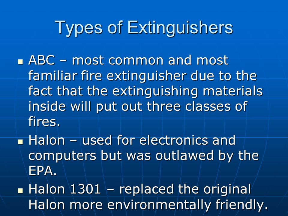 Types of Extinguishers