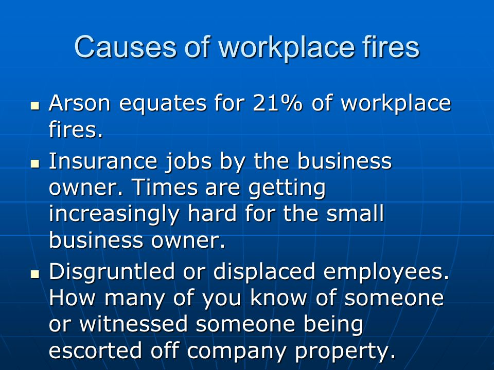Causes of workplace fires
