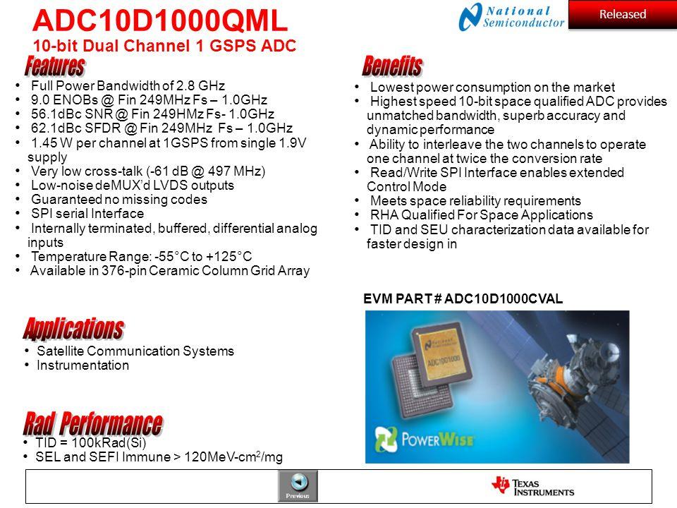 ADC10D1000QML 10-bit Dual Channel 1 GSPS ADC