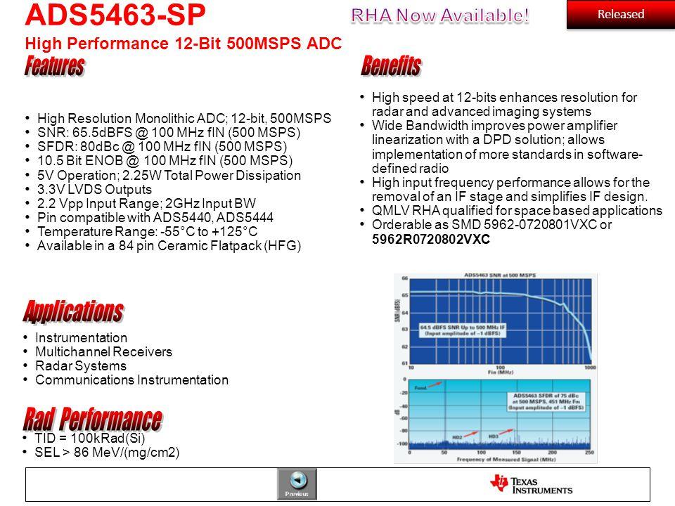 ADS5463-SP High Performance 12-Bit 500MSPS ADC