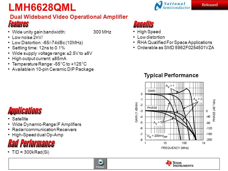 LMH6628QML Dual Wideband Video Operational Amplifier