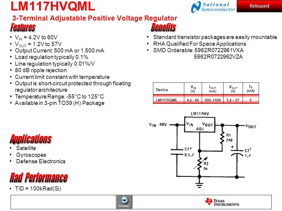 LM117HVQML 3-Terminal Adjustable Positive Voltage Regulator