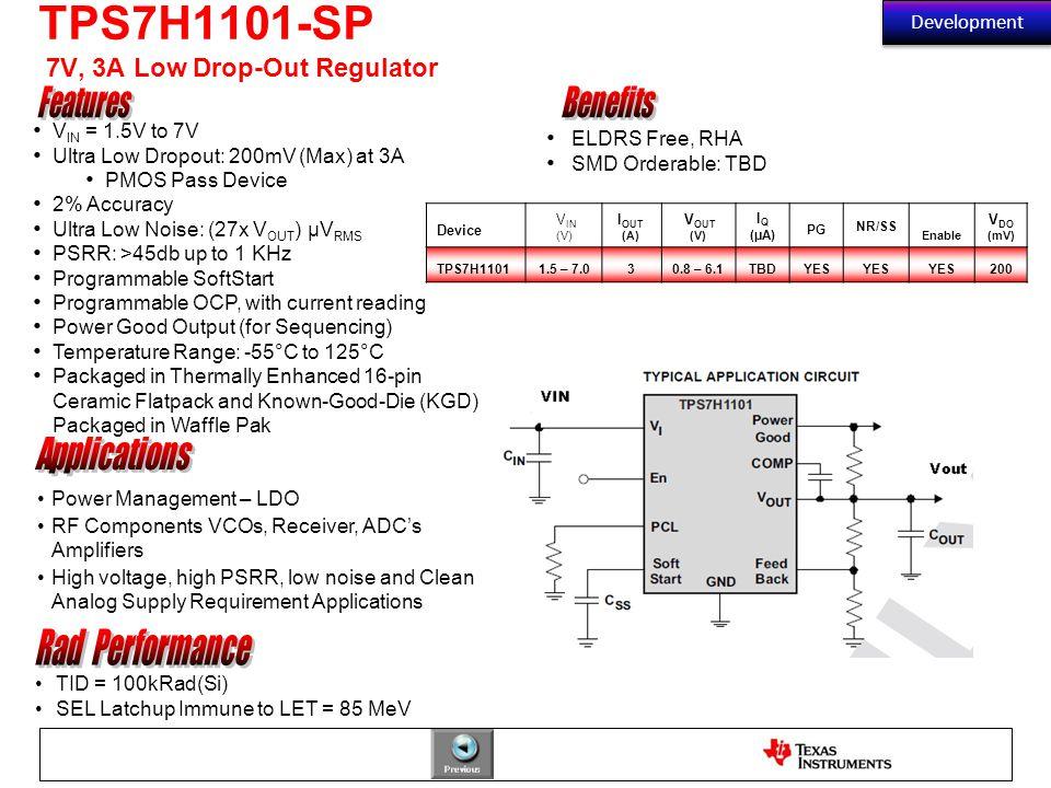 TPS7H1101-SP 7V, 3A Low Drop-Out Regulator