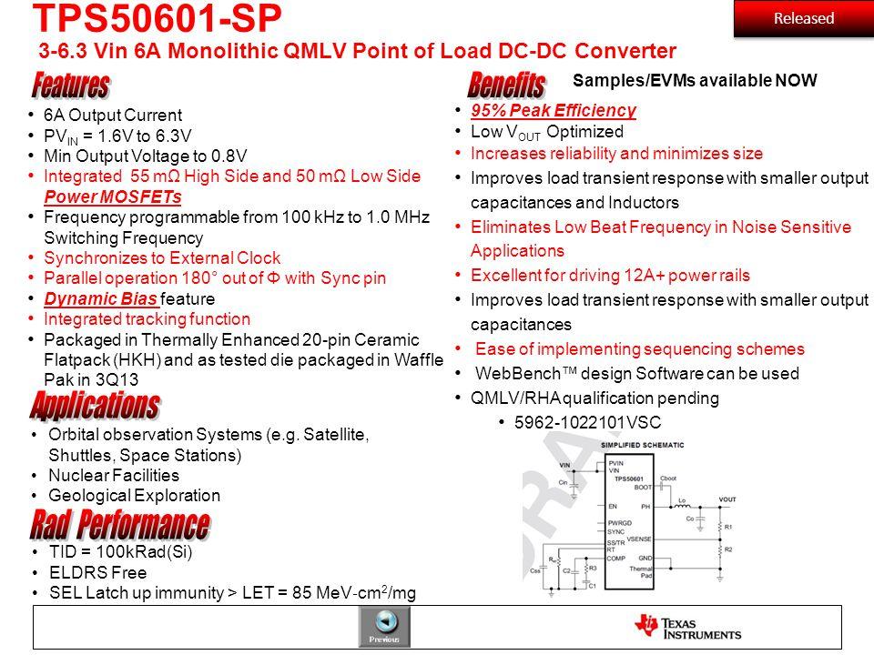 TPS50601-SP 3-6.3 Vin 6A Monolithic QMLV Point of Load DC-DC Converter