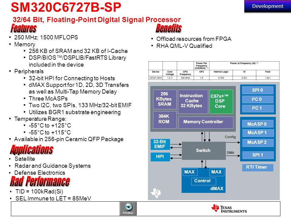 SM320C6727B-SP 32/64 Bit, Floating-Point Digital Signal Processor
