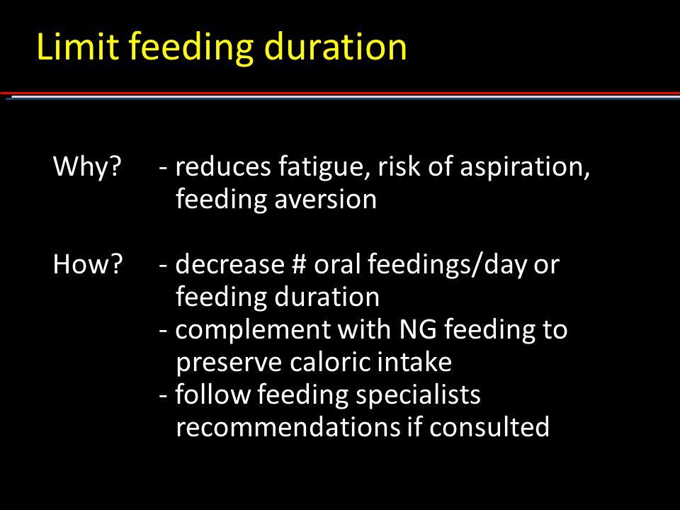Limit feeding duration