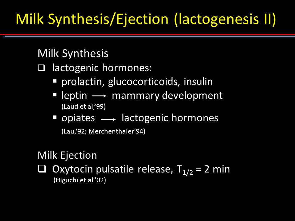 Milk Synthesis/Ejection (lactogenesis II)