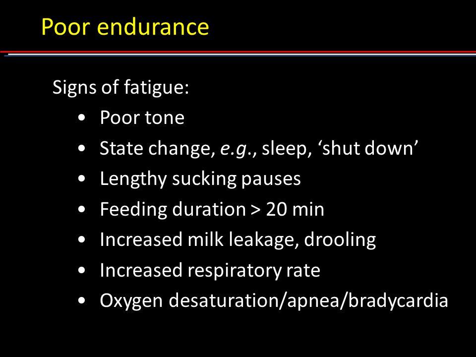 Poor endurance Signs of fatigue: Poor tone