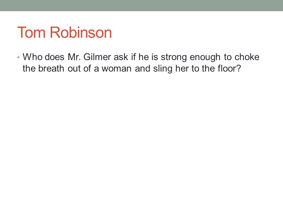 Tom Robinson Who does Mr.