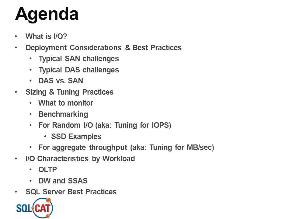 Agenda What is I/O Deployment Considerations & Best Practices