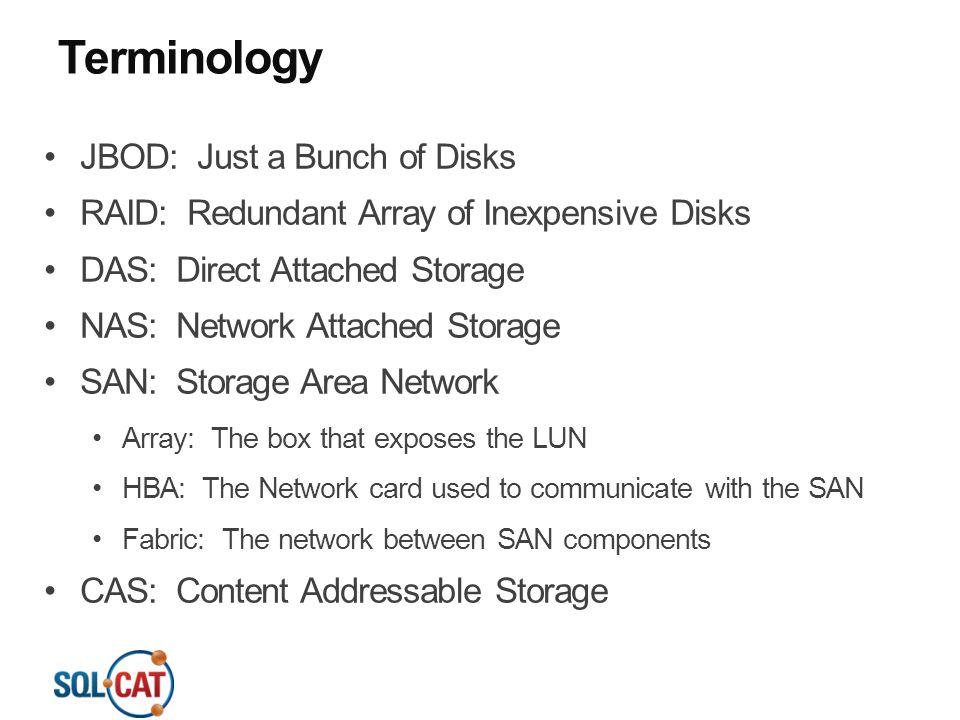 Terminology JBOD: Just a Bunch of Disks