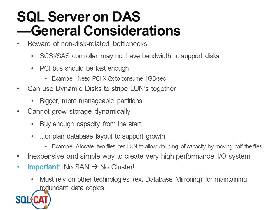 SQL Server on DAS —General Considerations
