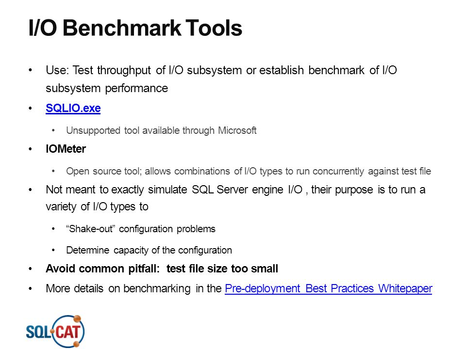 4/13/2017 10:53 PM I/O Benchmark Tools. Use: Test throughput of I/O subsystem or establish benchmark of I/O subsystem performance.