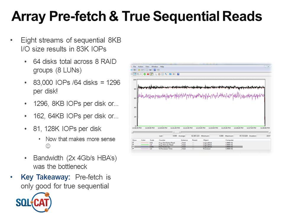 Array Pre-fetch & True Sequential Reads