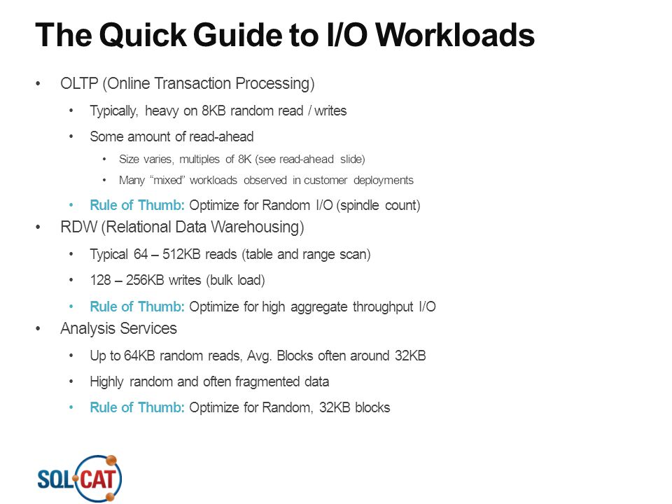 The Quick Guide to I/O Workloads