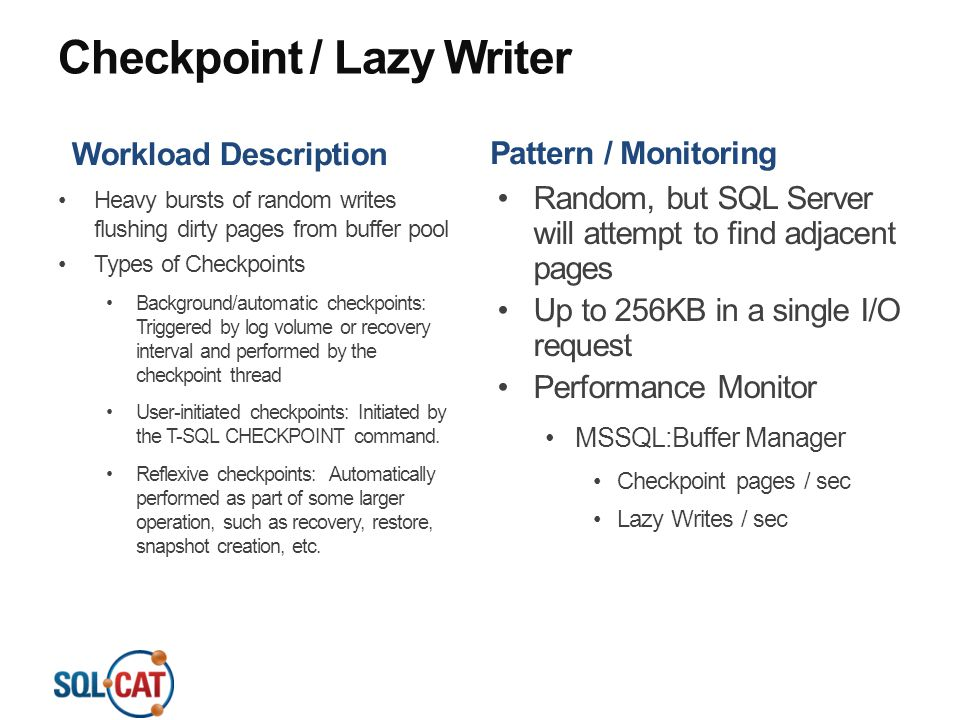 Checkpoint / Lazy Writer