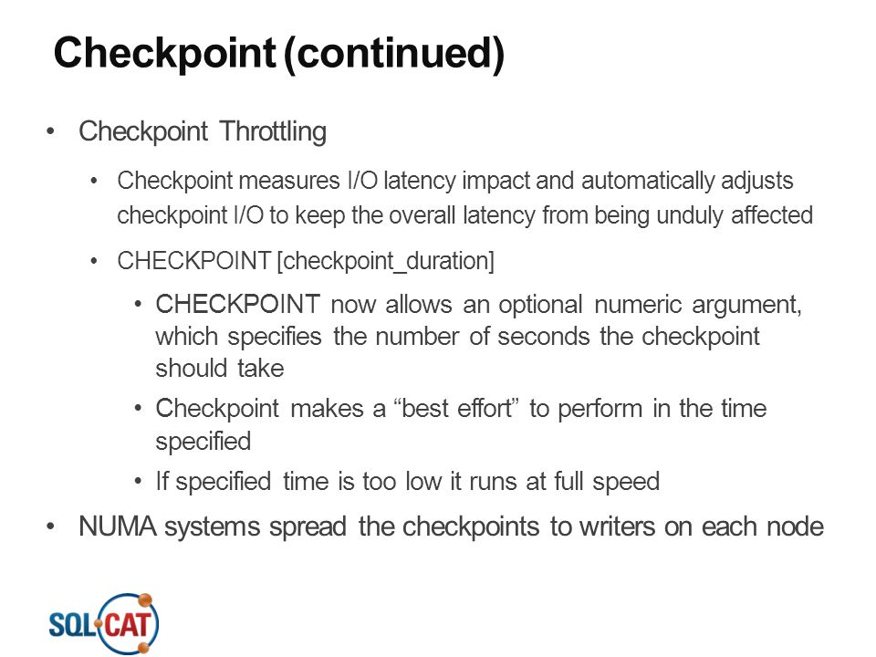 Checkpoint (continued)