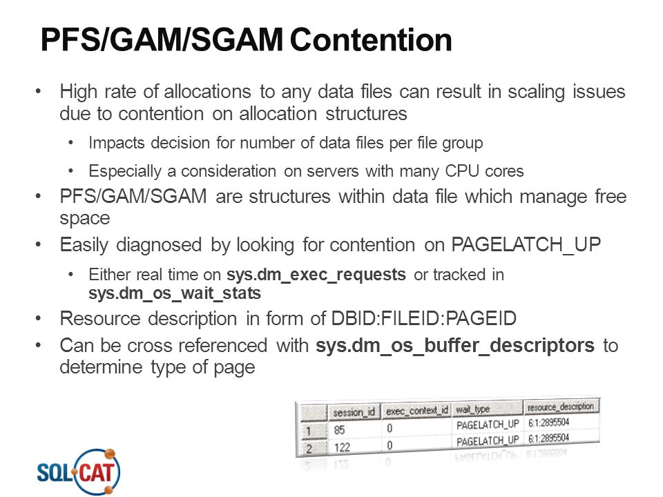 PFS/GAM/SGAM Contention
