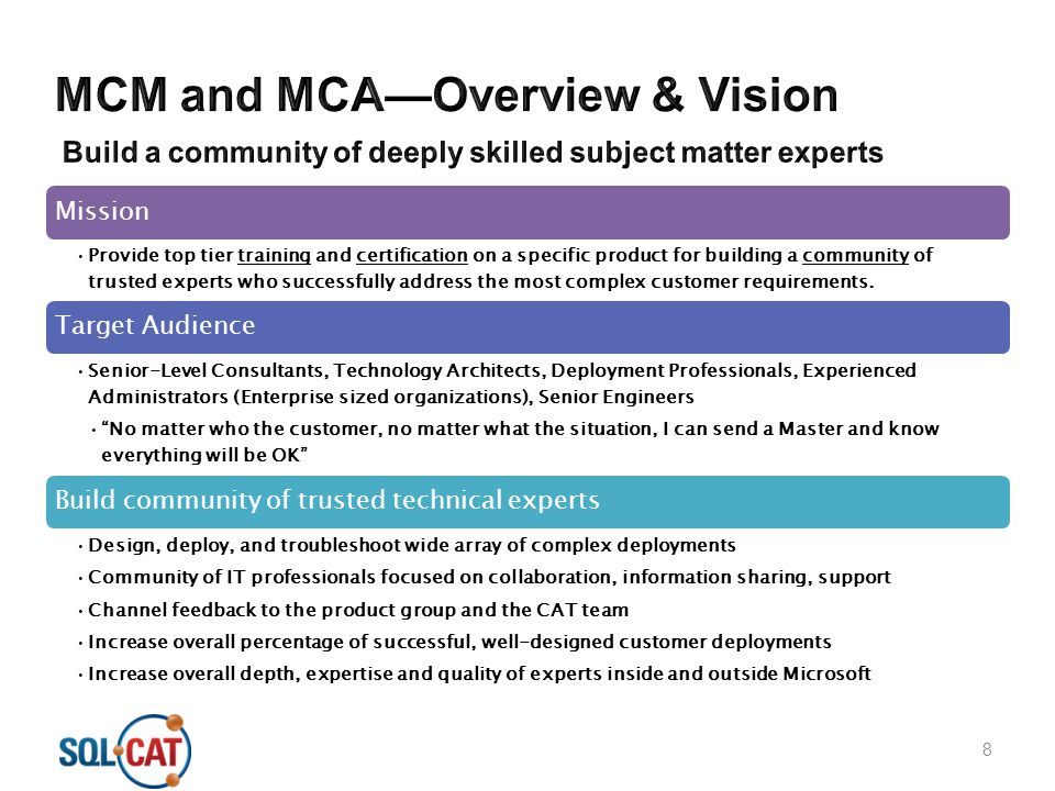 MCM and MCA—Overview & Vision Build a community of deeply skilled subject matter experts