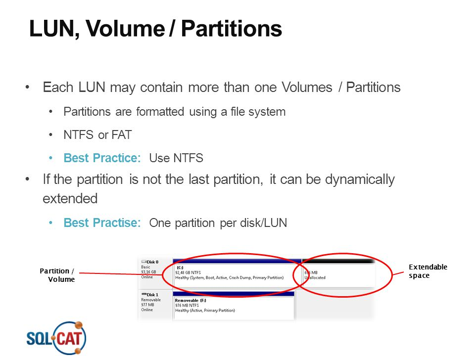 LUN, Volume / Partitions