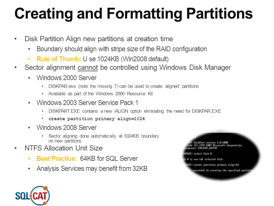 Creating and Formatting Partitions