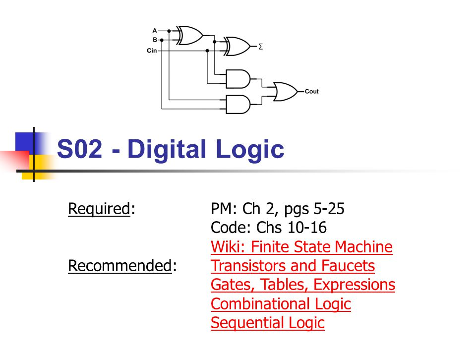 S02 - Digital Logic Required: PM: Ch 2, pgs 5-25