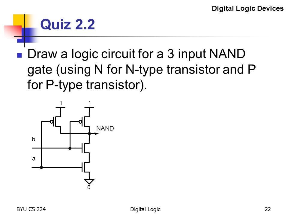 Digital Logic Devices Quiz 2.2. Draw a logic circuit for a 3 input NAND gate (using N for N-type transistor and P for P-type transistor).