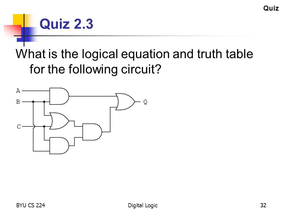 Quiz Quiz 2.3. What is the logical equation and truth table for the following circuit BYU CS 224.