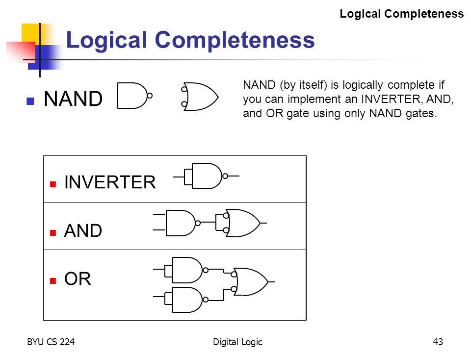 Logical Completeness NAND INVERTER AND OR Logical Completeness